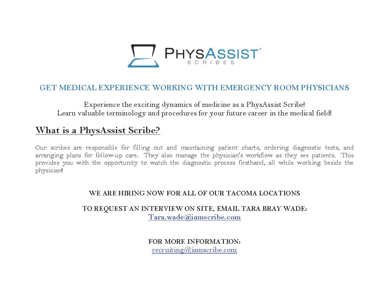 PhysAssist Scribes: Pre-health Students & Graduate Students