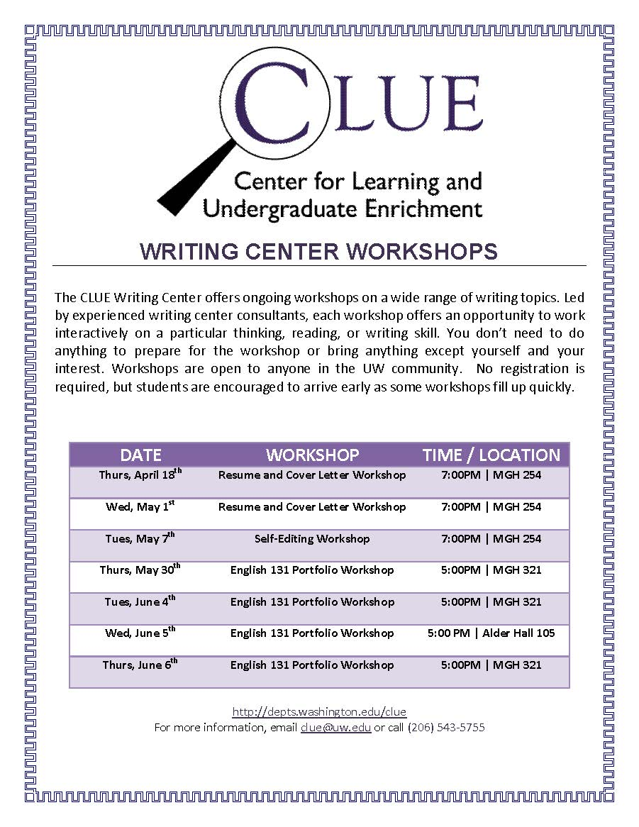 Clue Resume And Cover Letter Workshop Undergrad News And Announcements