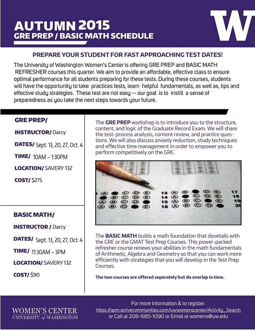 GRE PREP & BASIC MATH TEST PREP | Undergrad News and Announcements