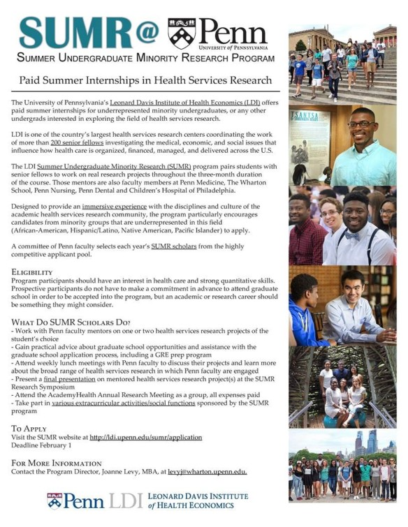Paid Internship in Health Services Research - WIN 2018