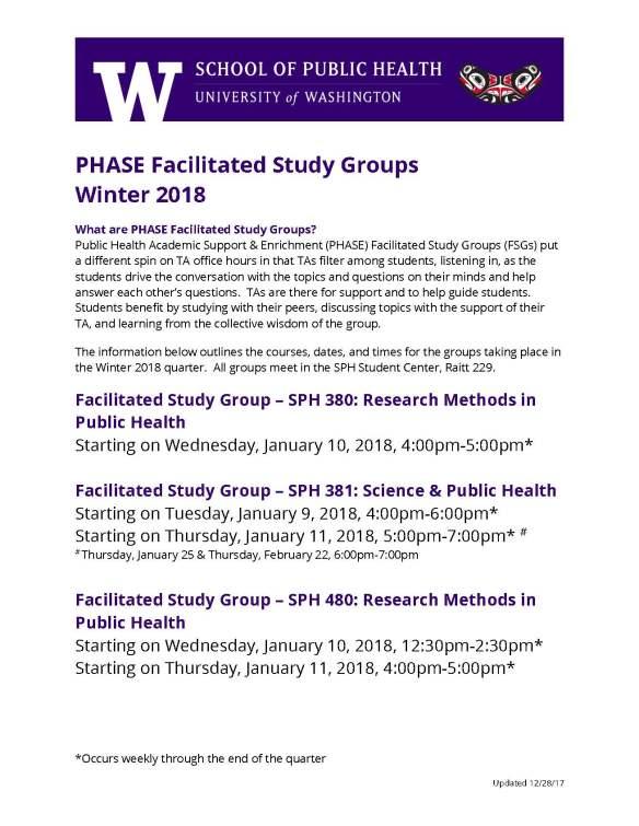 Facilitated Study Groups - WIN 18