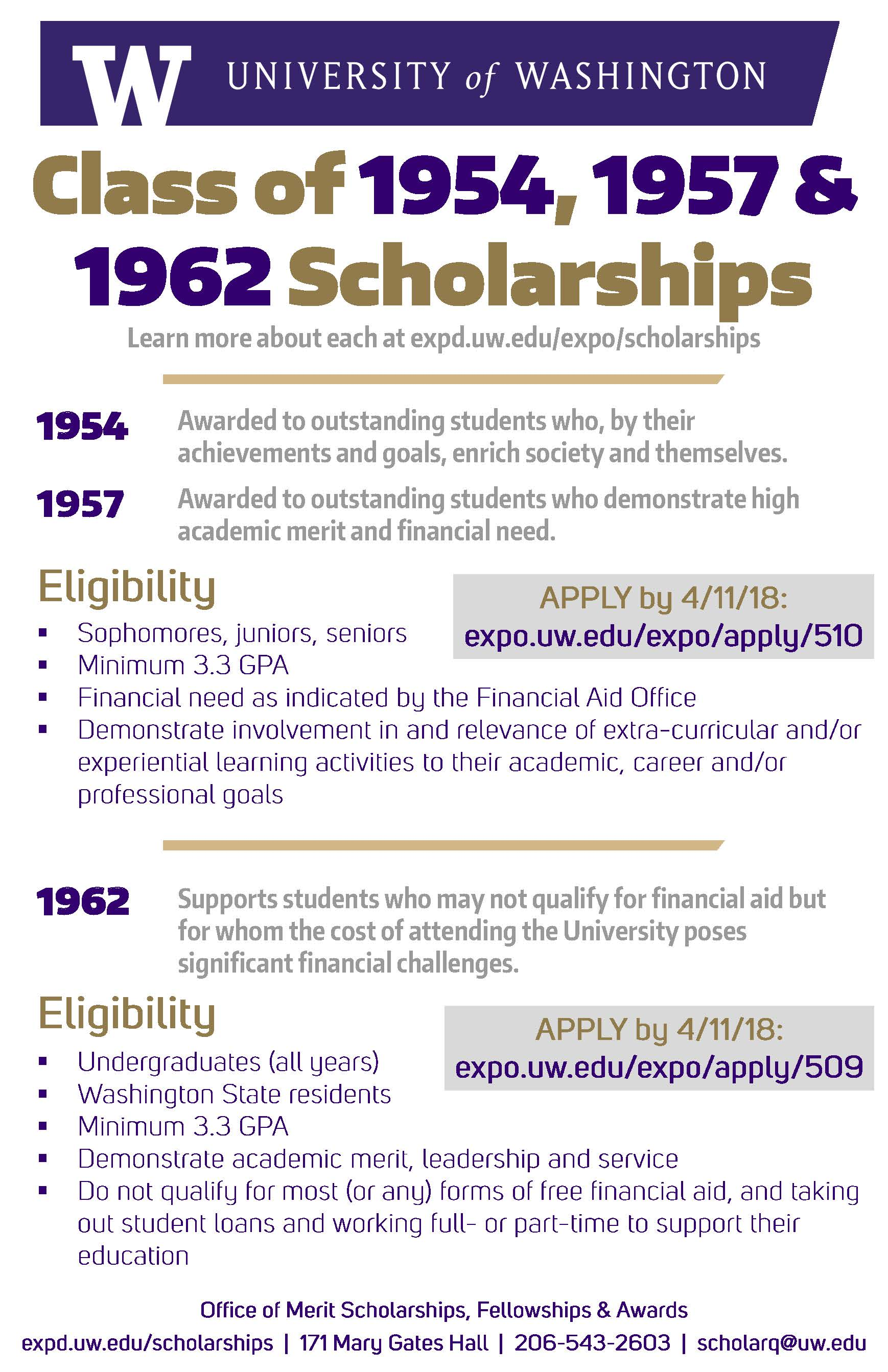scholarships available from uw classes of 1954, 1957, 1962 and