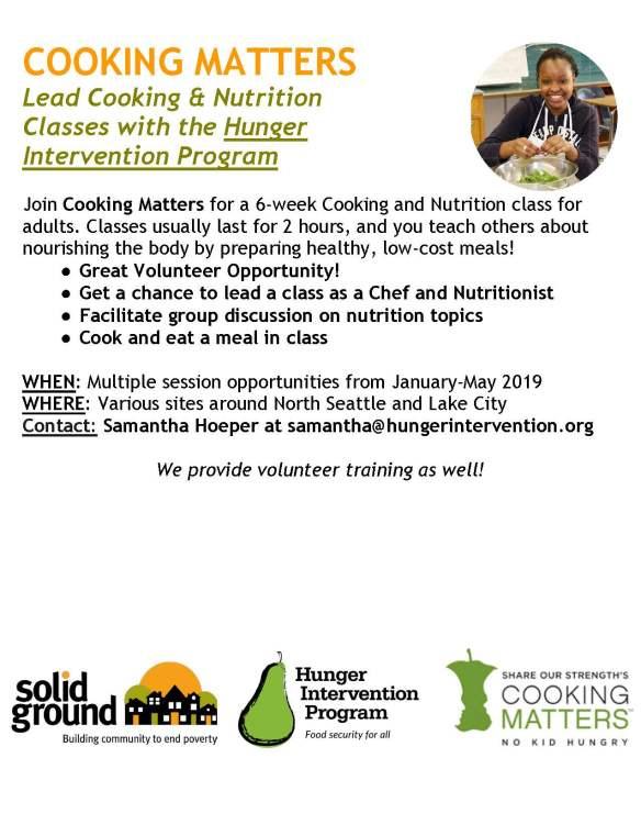 Cooking Matters - Volunteer Flyer 11.19.18