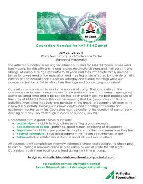 KAT-FISH Camp 2019 Counselor Recruitment Flyer