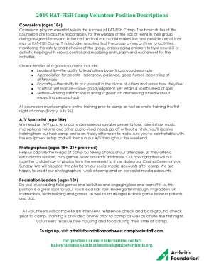 KAT-FISH Camp Volunteer Position Descriptions
